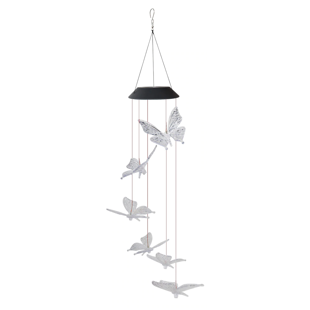 Color-Changing LED Solar Butterfly Outdoor Wind Chimes