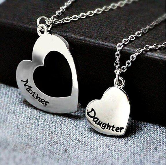 Mother Daughter Necklace Set of 2 Matching Heart Mom and Me Jewelry