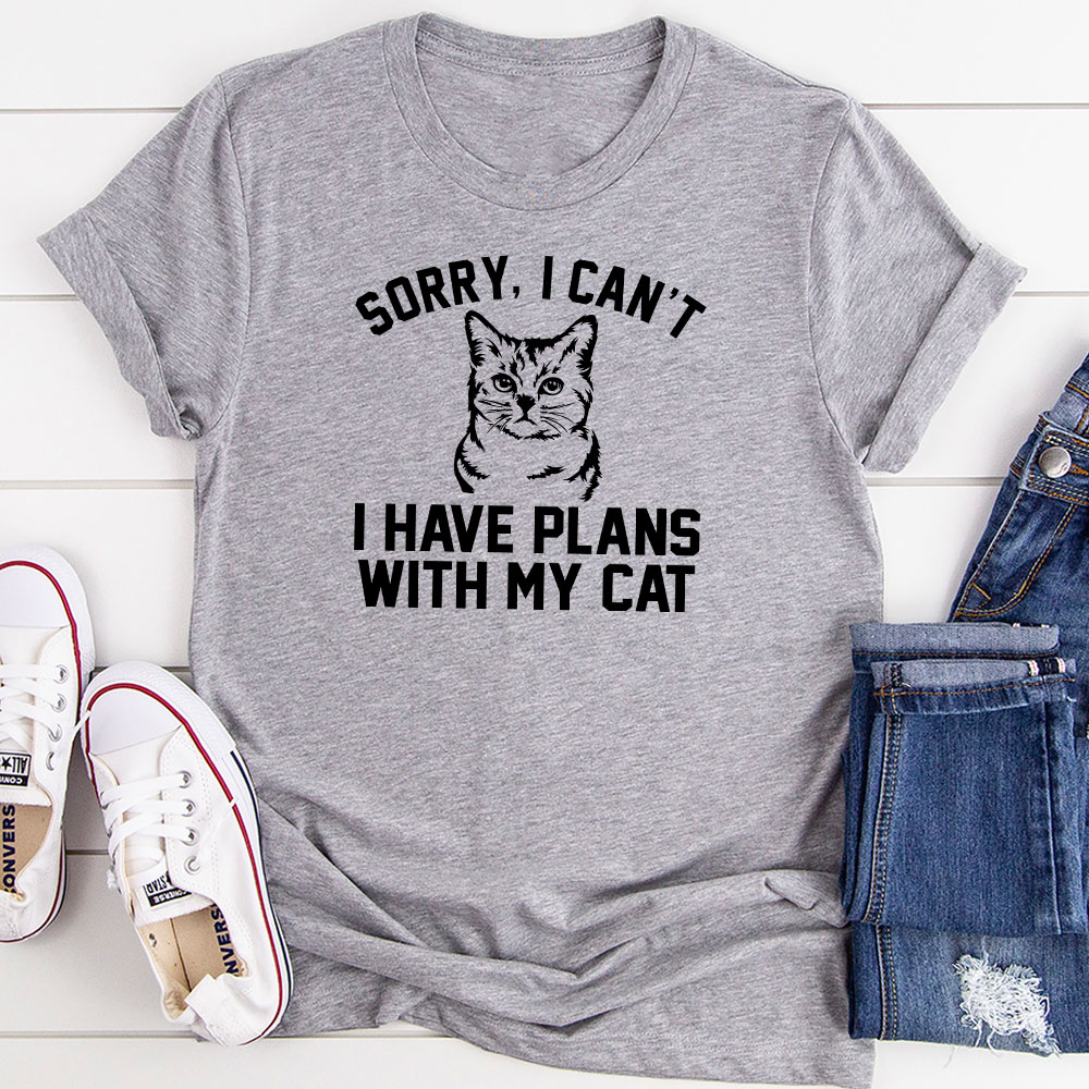 sorry i can't i have plans with my cat (athletic heather / 2xl)