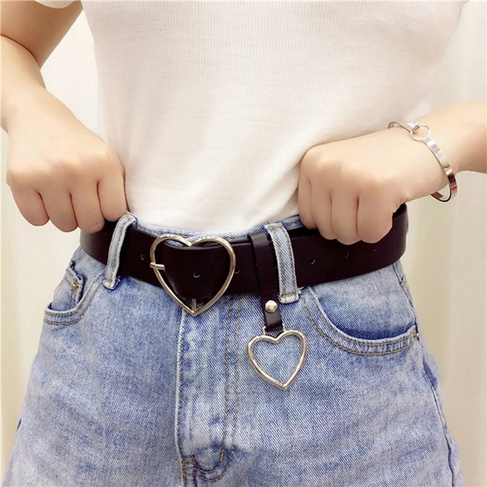 Heart Buckle Belt For Jeans, Shorts & Overcoats-Silver