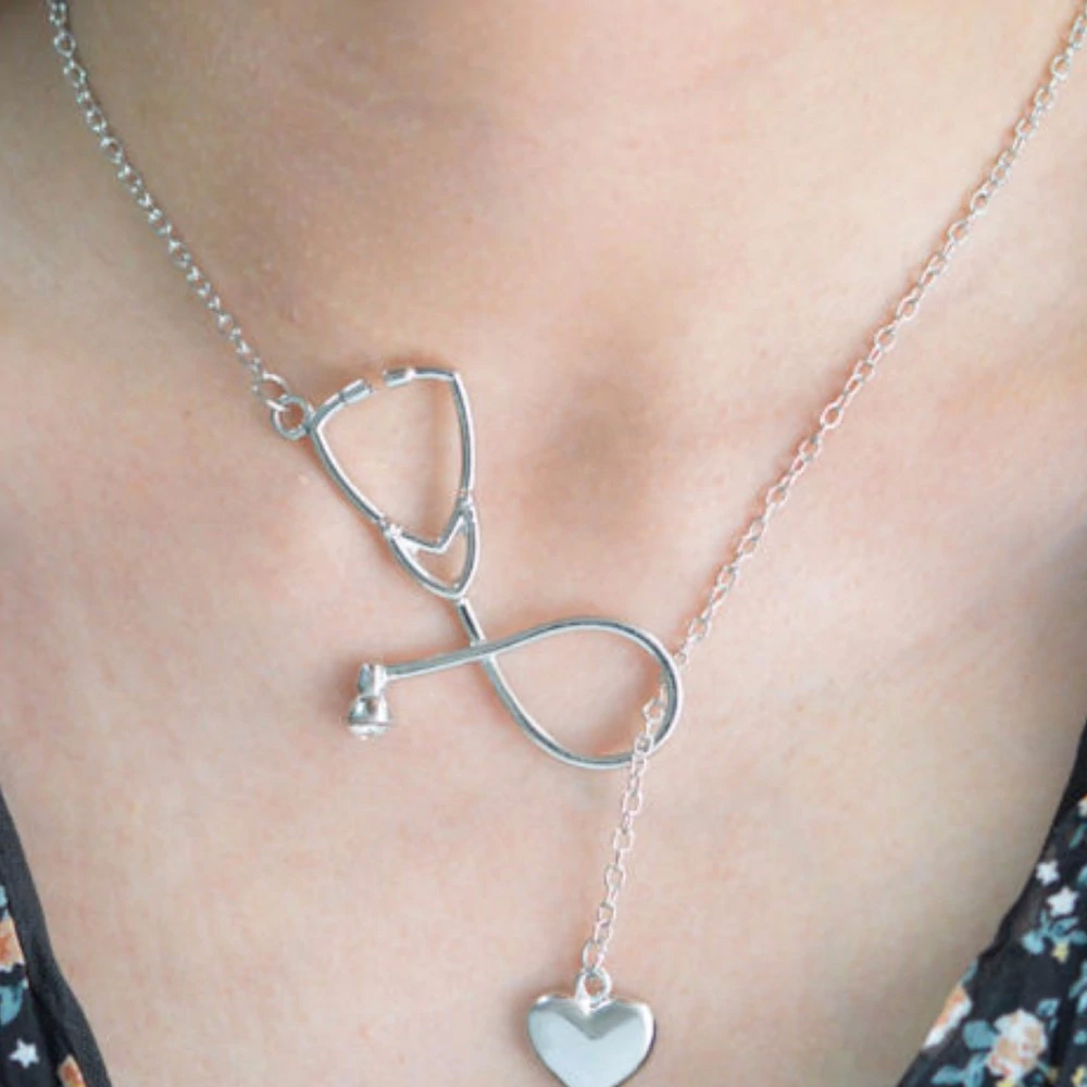 Heart Stethoscope Necklace-Silver