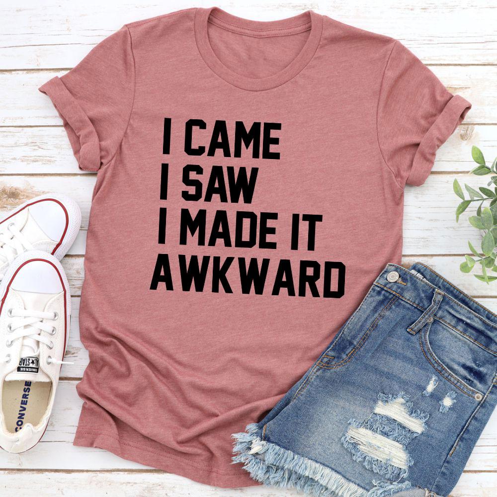 I Came I Saw I Made It Awkward T-Shirt (Mauve / Xl)