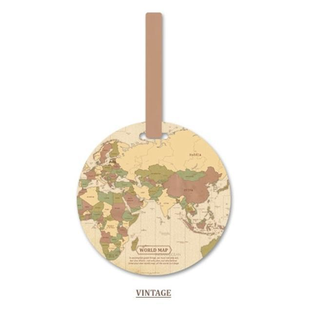 Map Of The World Luggage Tag-Vintage