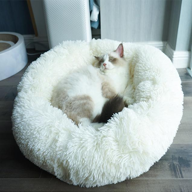 Comfy Faux Fur Pet Bed-Small / White