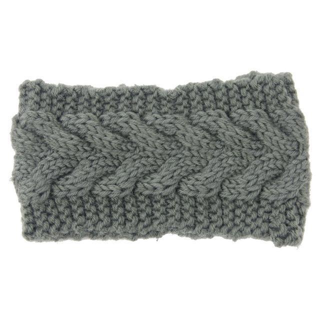 Knitted Ear Warmer Headwrap-Gray