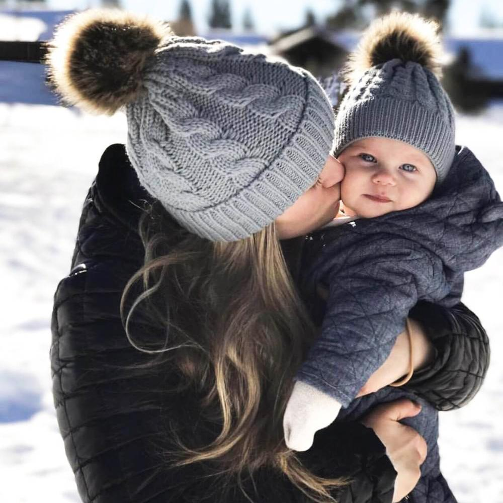 """""""Mommy & Me"""" Matching Faux Fur Beanies-Gray"""