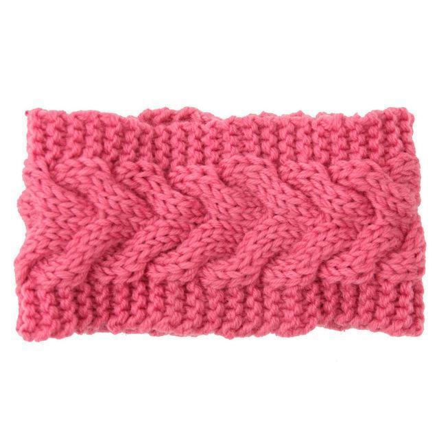 Knitted Ear Warmer Headwrap-Pink