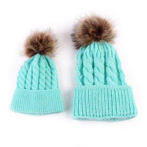 """""""Mommy & Me"""" Matching Faux Fur Beanies-Sky Blue"""