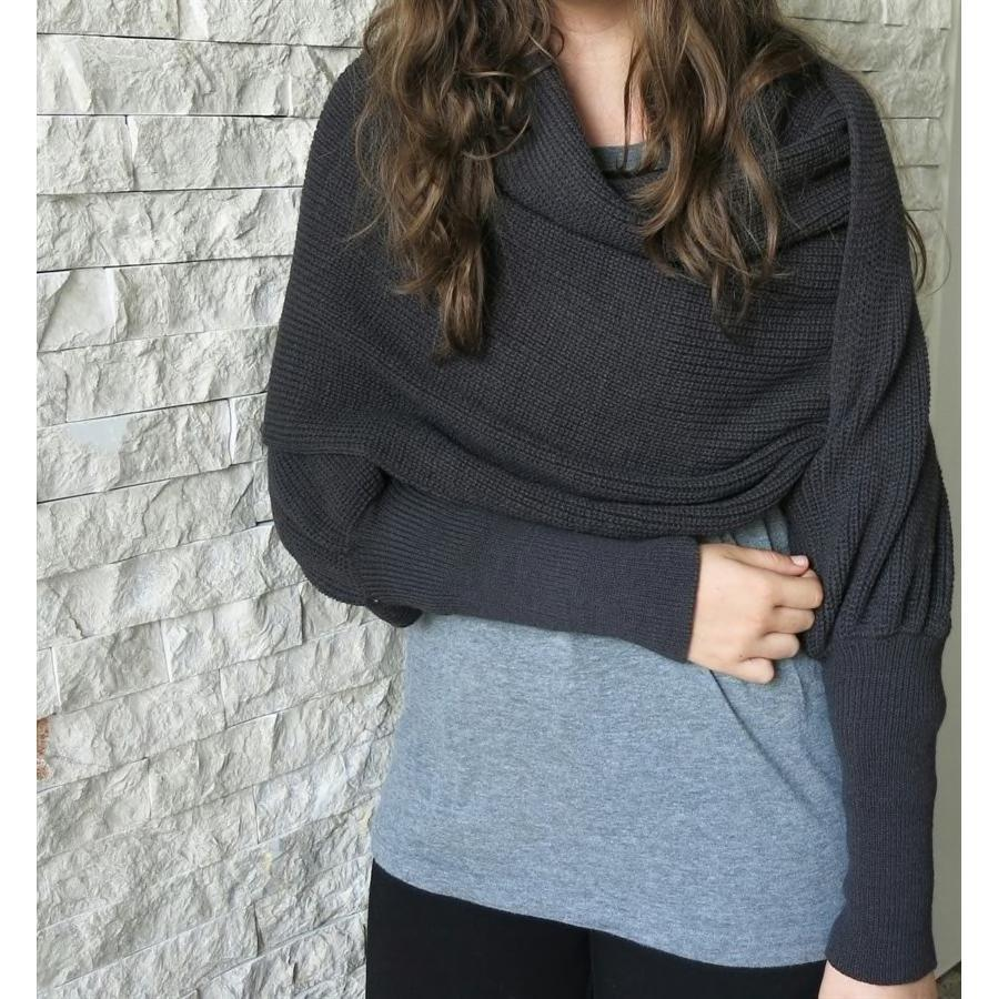 Convertible Scarf Sweater-One-Size / Dark Gray