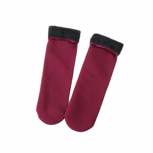 Cozy Faux Fur Socks-Burgundy