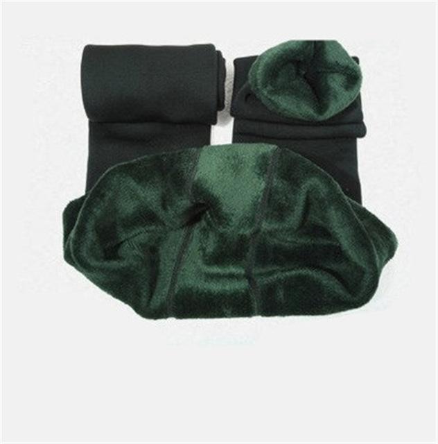 Cozy Faux Fur Leggings-M / Green