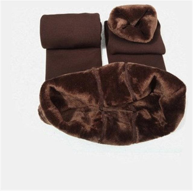 Cozy Faux Fur Leggings-S / Brown