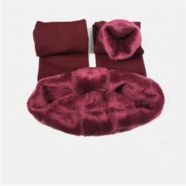 Cozy Faux Fur Leggings-S / Wine