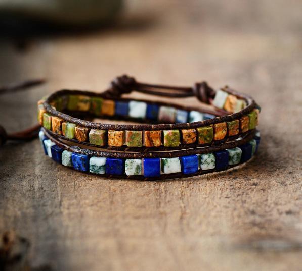 Handmade Bohemian Wrap Bracelet-Navy