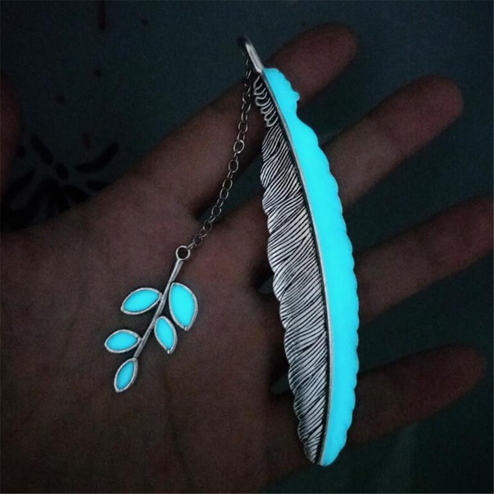 Handmade Glowing Bookmark-Leaf Silver