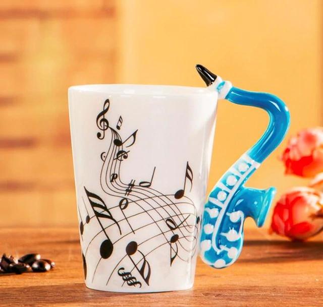Novelty Guitar Ceramic Mug-Blue Saxophone