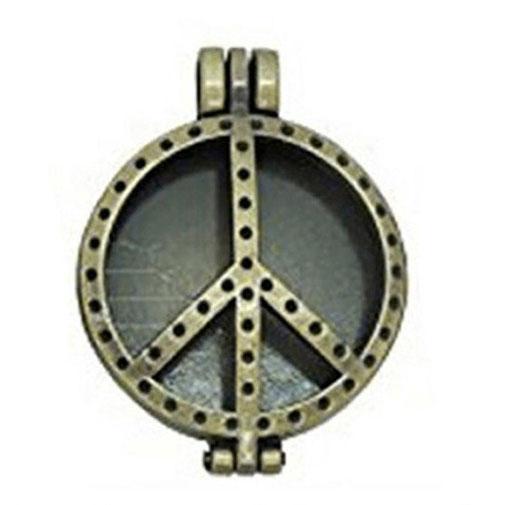 Antique Oil Diffuser Necklace-Peace & Love Gold