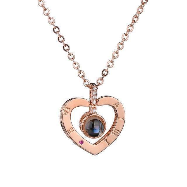 Hidden Message Lovers Necklace - Heart Pendant Gold
