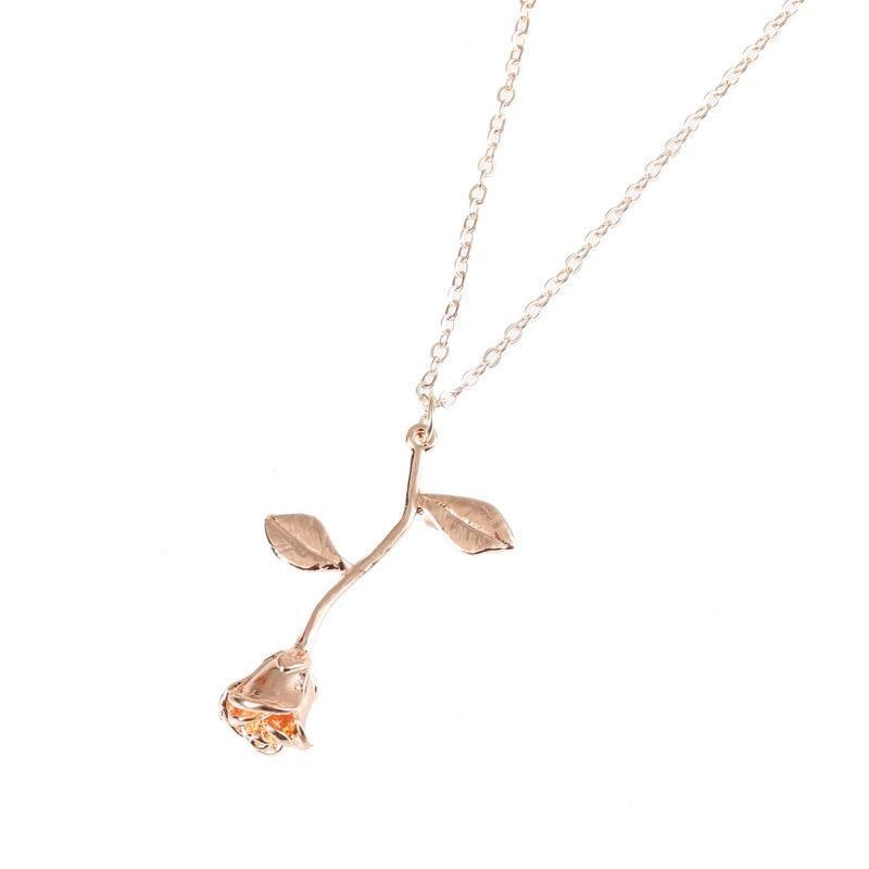 Rose Pendant Necklace - Rose Gold