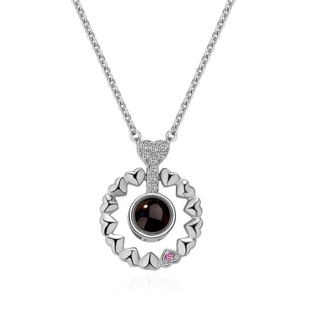 Hidden Message Lovers Necklace - Crown Pendant Silver