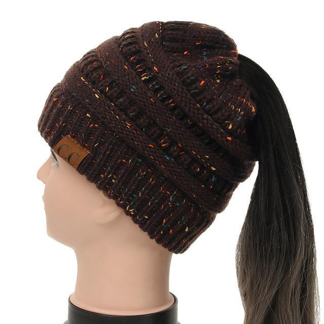 Soft Knit Ponytail Confetti Beanie-Brown