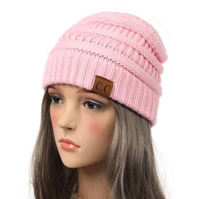 Soft Knit Slouchy Beanie-Light Pink