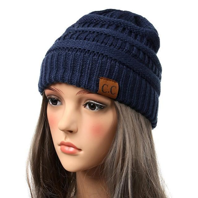 Soft Knit Slouchy Beanie-Navy