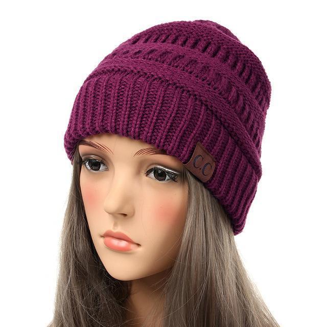 Soft Knit Slouchy Beanie-Plum