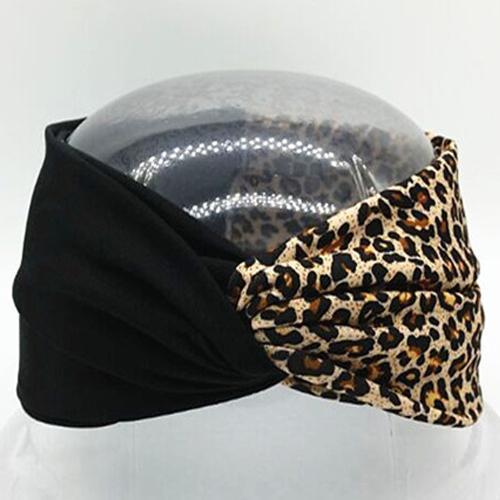 Boho Twist Colorblock Headband-Black & Animal Print