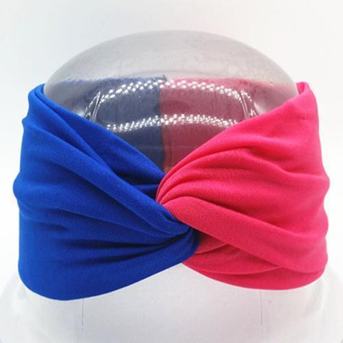 Boho Twist Colorblock Headband-Blue & Hot Pink