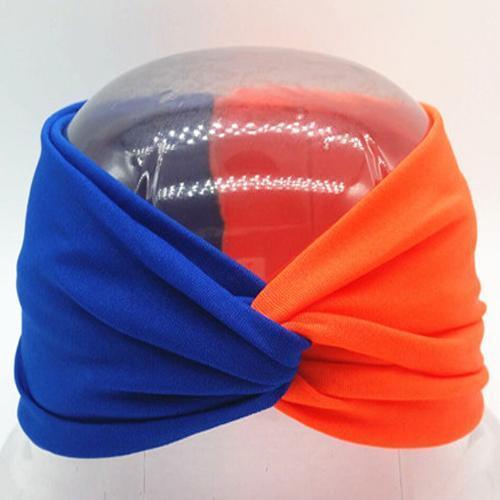 Boho Twist Colorblock Headband-Blue & Orange