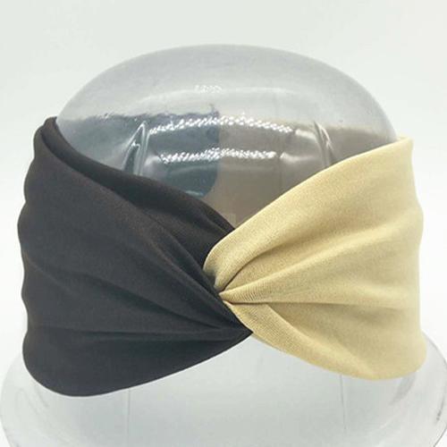 Boho Twist Colorblock Headband-Brown & Beige