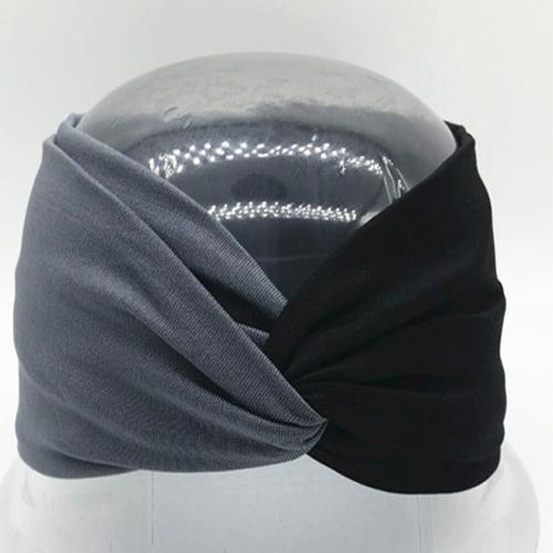 Boho Twist Colorblock Headband-Gray & Black