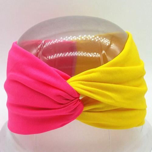 Boho Twist Colorblock Headband-Hot Pink & Yellow