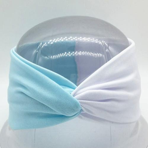 Boho Twist Colorblock Headband-Light Blue & White