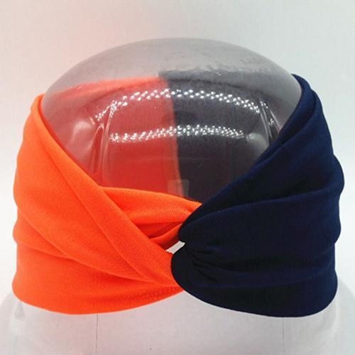 Boho Twist Colorblock Headband-Orange & Navy