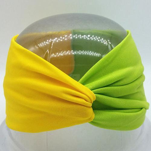 Boho Twist Colorblock Headband-Yellow & Lime Green