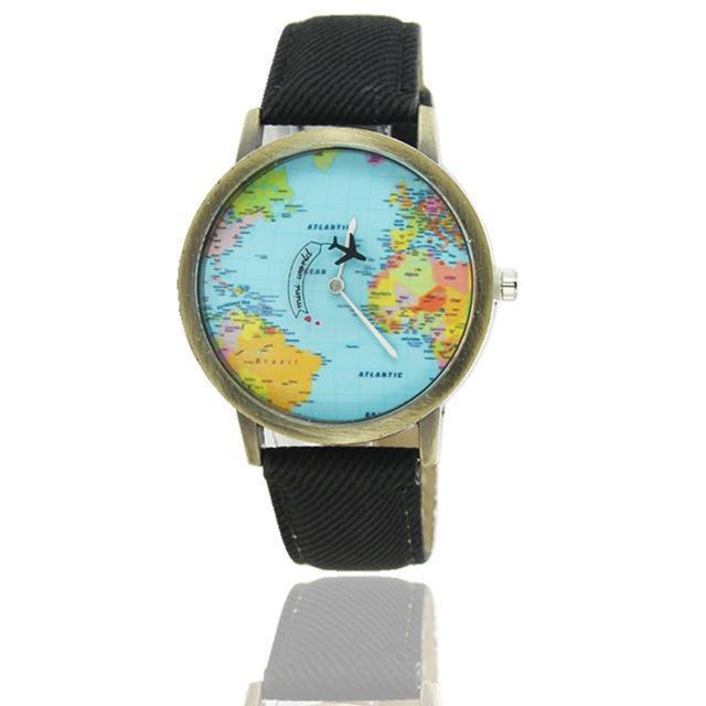 Vintage World Traveler Watch-Black