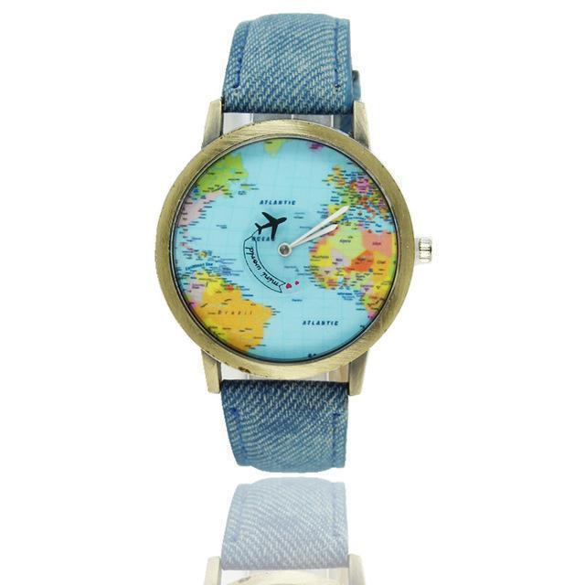 Vintage World Traveler Watch-Denim