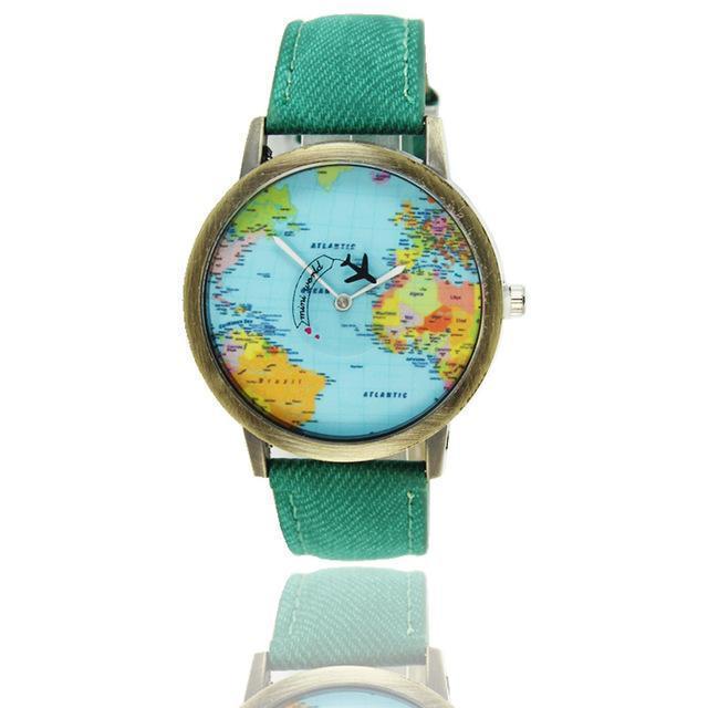 Vintage World Traveler Watch-Green