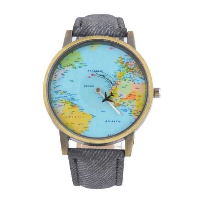 Vintage World Traveler Watch-Grey