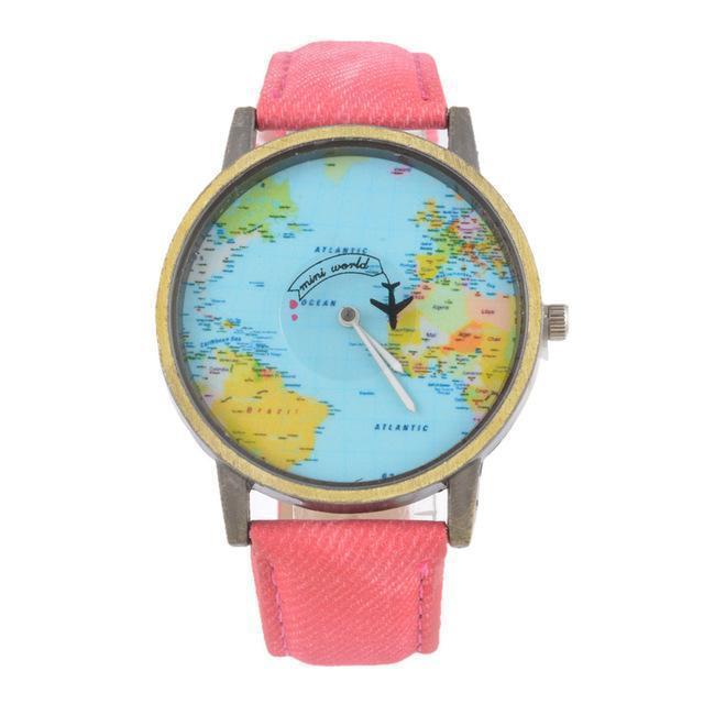 Vintage World Traveler Watch-Pink