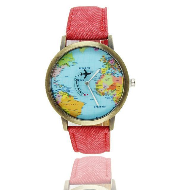Vintage World Traveler Watch-Red