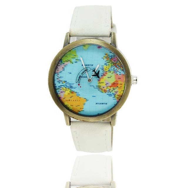 Vintage World Traveler Watch-White