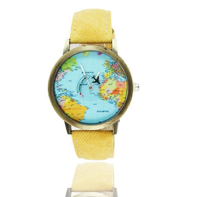 Vintage World Traveler Watch-Yellow