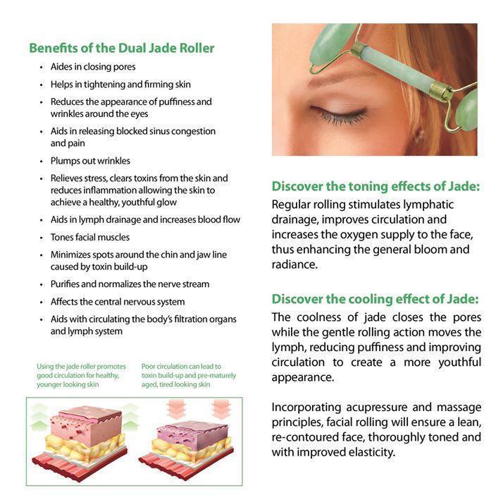 Real Jade Facial Roller and Gua Sha Set