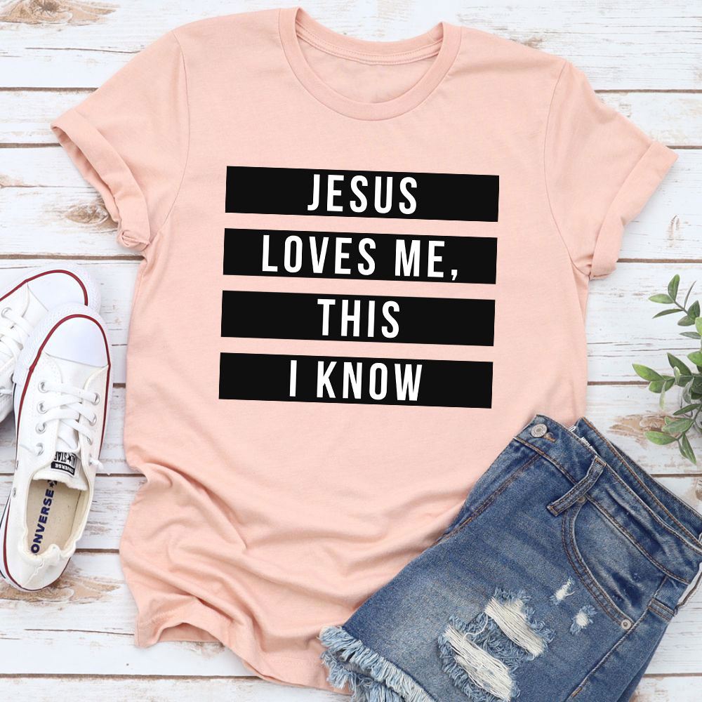 Jesus Loves Me This I Know T-Shirt (Heather Prism Peach / 3Xl)