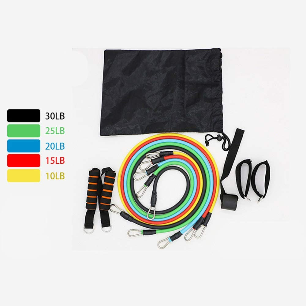 11 Piece Latex Resistance Bands With Handles