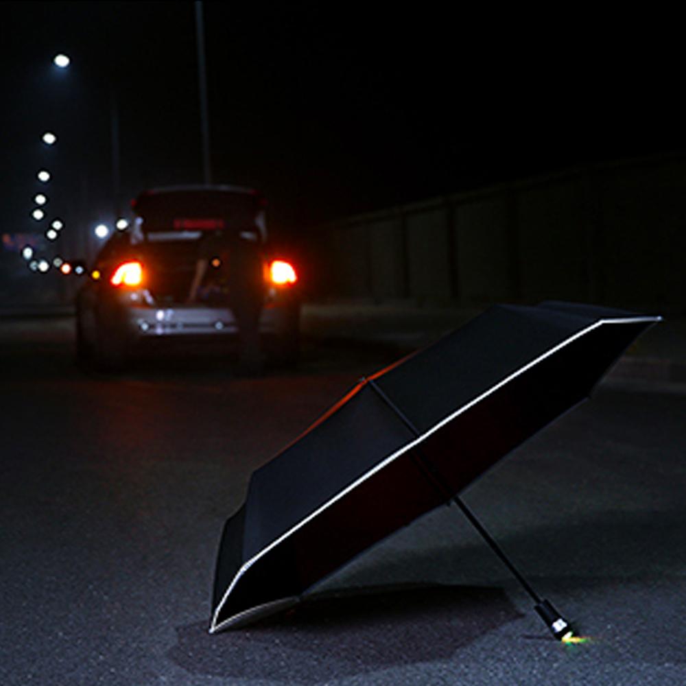 Windproof LED Inverted Umbrella with Reflective Stripe & Reverse Folding