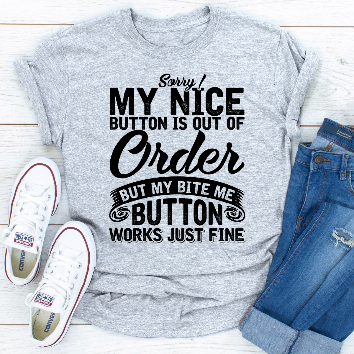 Sorry My Nice Button Is Out Of Order (Sport Grey / 3Xl)